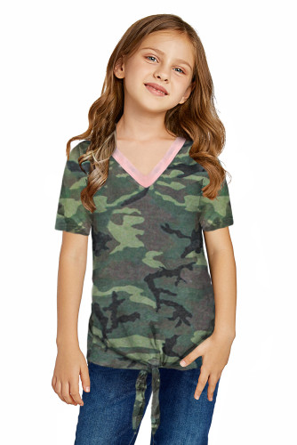 Little Girl Contrast Trim Green Camo Print T-shirt with Knot TZ25292-9