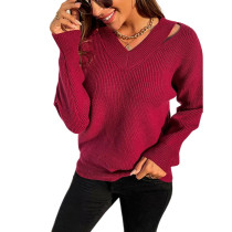Solid Wine Red V Neck Hollow Out Sweater TQK271330-23