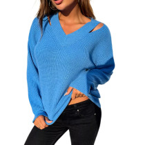 Solid Blue V Neck Hollow Out Sweater TQK271330-5