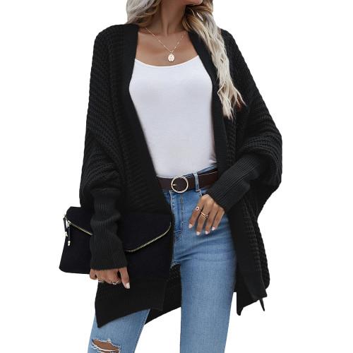 Black Drop Shoulder Oversized Long Cardigan TQK271344-2