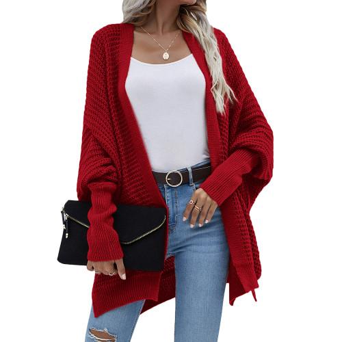 Wine Red Drop Shoulder Oversized Long Cardigan TQK271344-23