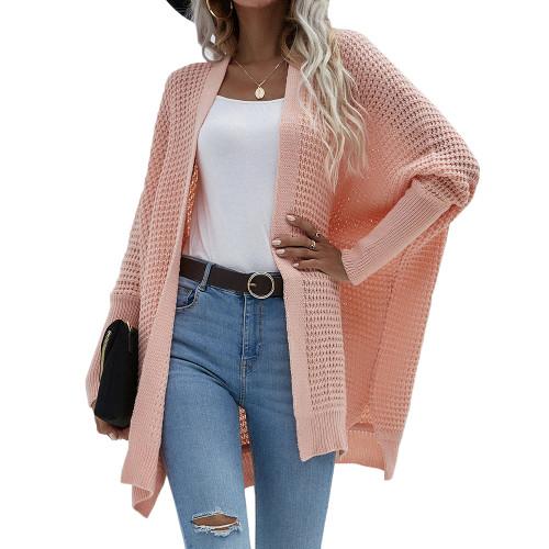 Orange Pink Drop Shoulder Oversized Long Cardigan TQK271344-70