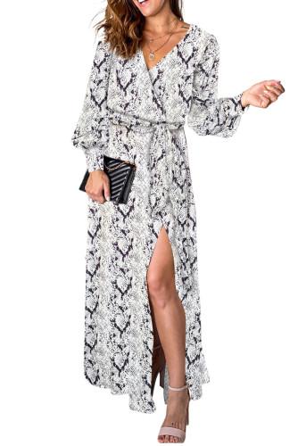 Gray Sexy V Neck Cuffed Sleeve Snakeskin Maxi Dress LC616130-11