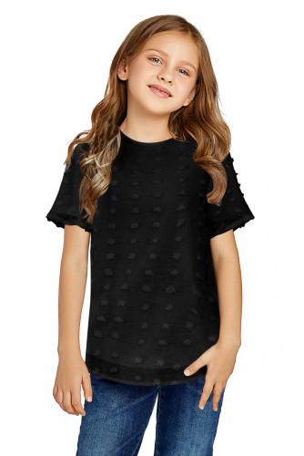 Black Swiss Dot Little Girl Short Sleeve Top TZ25308-2
