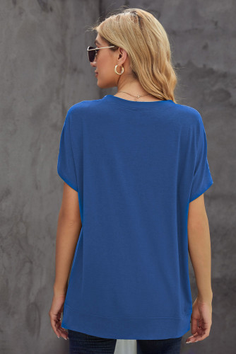 Blue Round Neck Short Sleeve Solid Color Tee LC2521959-5