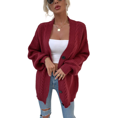 Red Arctic Velvet Buttoned Cable Knit Long Cadigan TQK271343-3