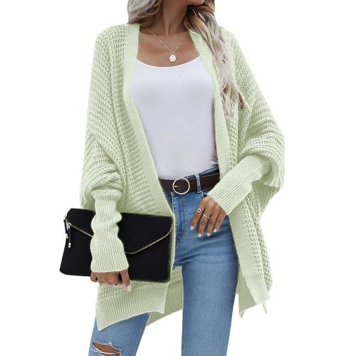 Light Green Drop Shoulder Oversized Long Cardigan TQK271344-28