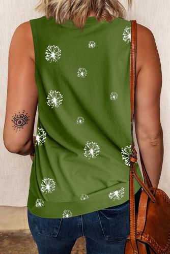 Dandelion Print Knit Tank with Slits LC2561427-109