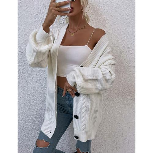 White Arctic Velvet Buttoned Cable Knit Long Cadigan TQK271343-1