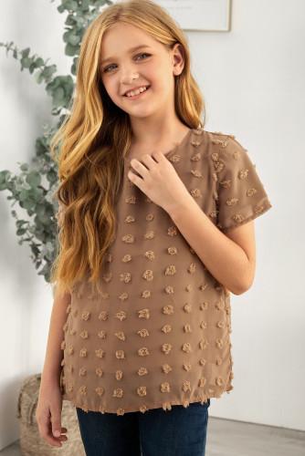 Brown Swiss Dot Little Girl Short Sleeve Top TZ25308-17