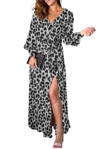 Black Sexy V Neck Cuffed Sleeve Leopard Maxi Dress LC616130-2