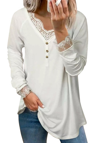 Lace Splicing Button V Neck Long Sleeve Top LC25110137-1