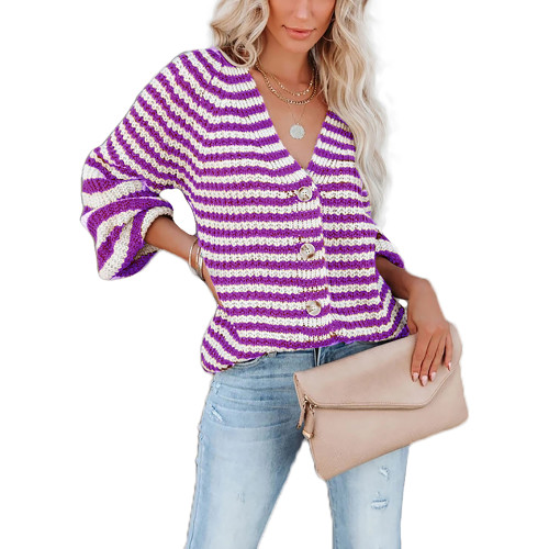 Purple Striped Button Down V Neck Cardigan TQK271342-8