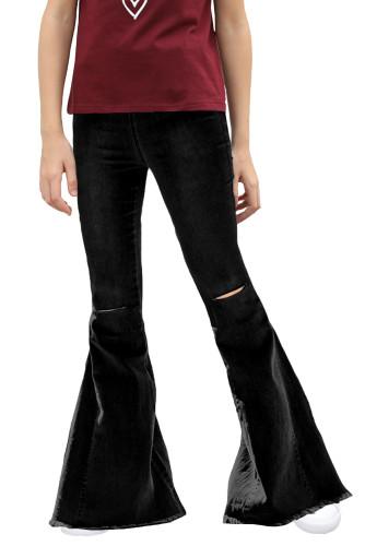 Black Little Girls' Distressed Bell Bottom Jeans TZ77009-2