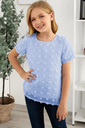 Sky Blue Swiss Dot Little Girl Short Sleeve Top TZ25308-4