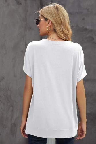 White Round Neck Short Sleeve Solid Color Tee LC2521959-1
