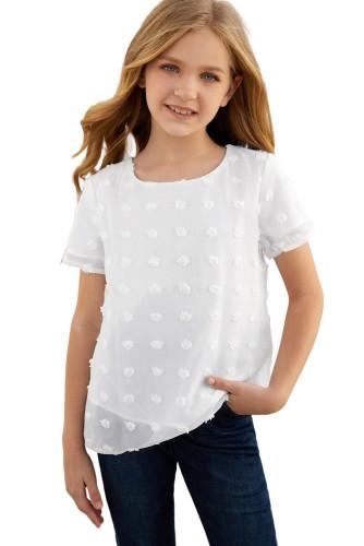White Swiss Dot Little Girl Short Sleeve Top TZ25308-1