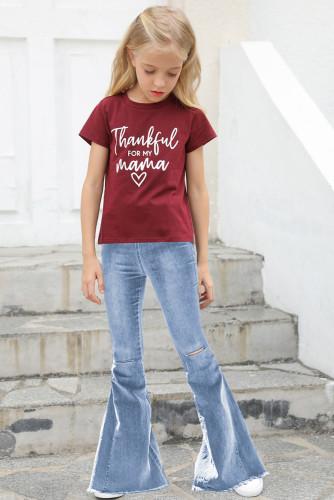Sky Blue Little Girls' Distressed Bell Bottom Jeans TZ77009-4