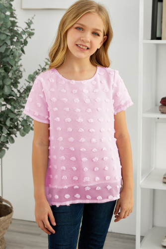 Pink Swiss Dot Little Girl Short Sleeve Top TZ25308-10