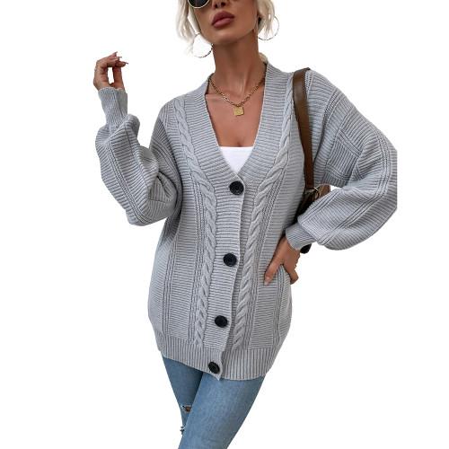 Gray Arctic Velvet Buttoned Cable Knit Long Cadigan TQK271343-11