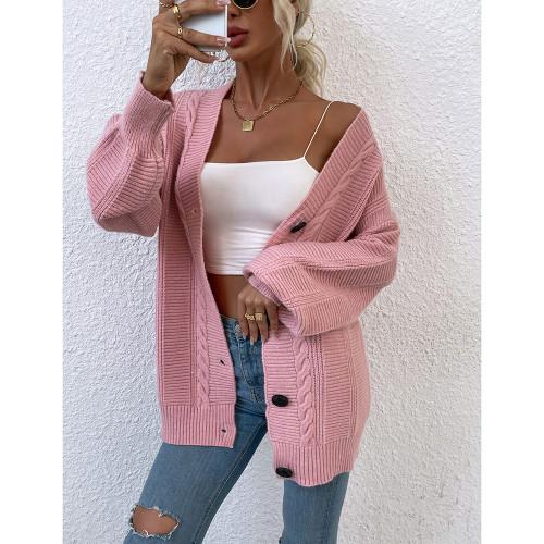 Pink Arctic Velvet Buttoned Cable Knit Long Cadigan TQK271343-10