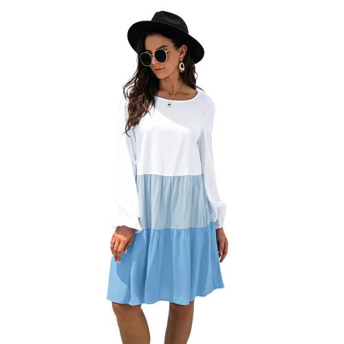 Blue Color Block Cotton Blend Long Sleeve Dress TQK310671-5