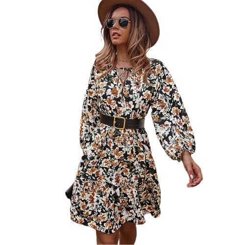 Black Floral Print Lace-up A-Line Long Sleeve Dress TQK310673-2
