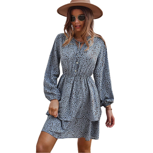 Blue Print Lace-up Ruffles Hem Long Sleeve Dress TQK310674-5
