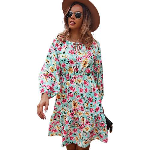 Aquamarine Floral Print Lace-up A-Line Long Sleeve Dress TQK310673-45