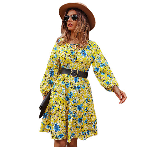 Yellow Floral Print Lace-up A-Line Long Sleeve Dress TQK310673-7