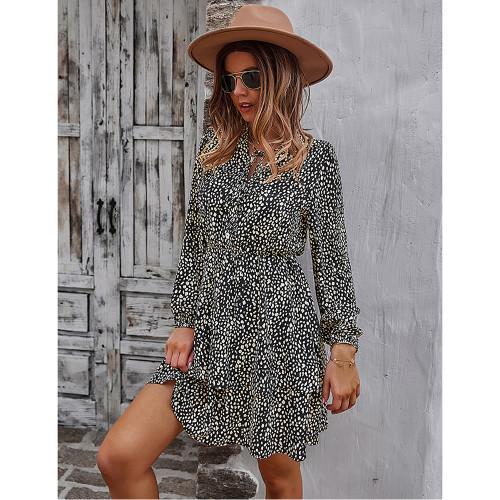 Black Print Lace-up Ruffles Hem Long Sleeve Dress TQK310674-2
