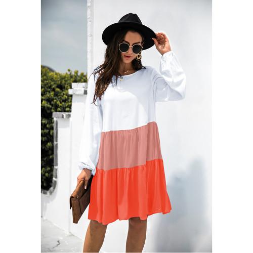 Orange Color Block Cotton Blend Long Sleeve Dress TQK310671-14