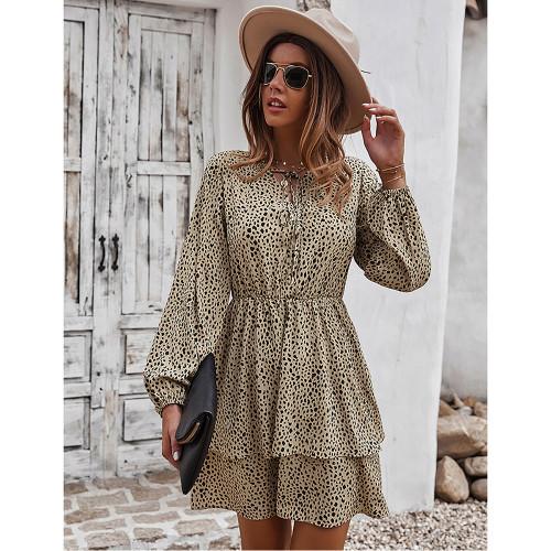 Khaki Print Lace-up Ruffles Hem Long Sleeve Dress TQK310674-21