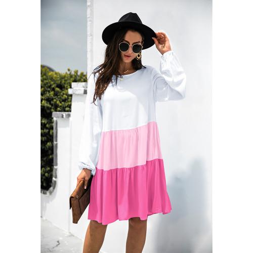 Rosy Color Block Cotton Blend Long Sleeve Dress TQK310671-6