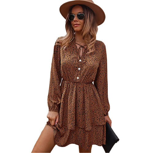 Brown Print Lace-up Ruffles Hem Long Sleeve Dress TQK310674-17