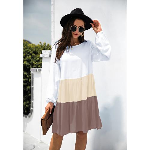 Khaki Color Block Cotton Blend Long Sleeve Dress TQK310671-21