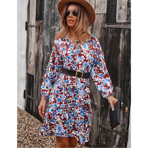 Red Floral Print Lace-up A-Line Long Sleeve Dress TQK310673-3