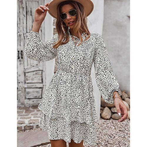 White Print Lace-up Ruffles Hem Long Sleeve Dress TQK310674-1