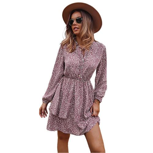 Pink Print Lace-up Ruffles Hem Long Sleeve Dress TQK310674-10