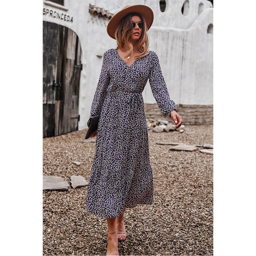 Navy Blue Floral Print Tie Waist Split Maxi Dress TQK310676-34