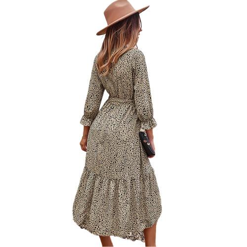 Khaki V Neck Tie Waist Long Sleeve Maxi Dress TQK310677-21