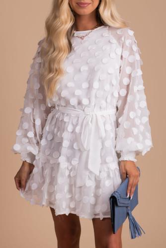 White Textured Dot Bubble Sleeve Tie Waist Mini Dress LC229406-1