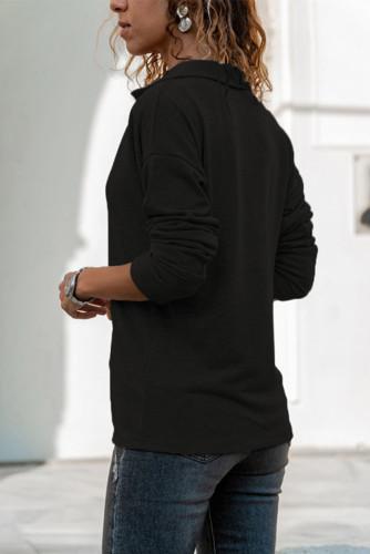 Black Turn-down V Neck Long Sleeve Top LC25110301-2