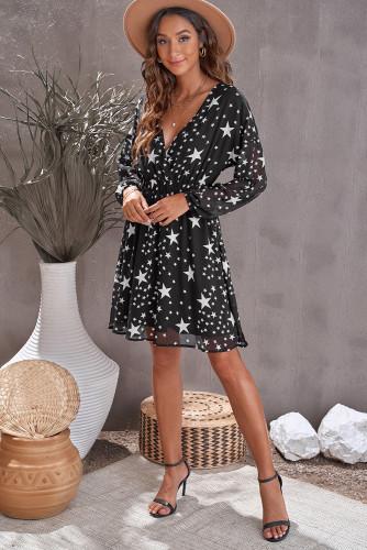 Black V Neck Star Pattern Tunic Dress LC229395-2