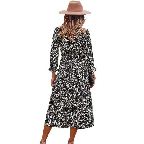 Black V Neck Tie Waist Long Sleeve Maxi Dress TQK310677-2