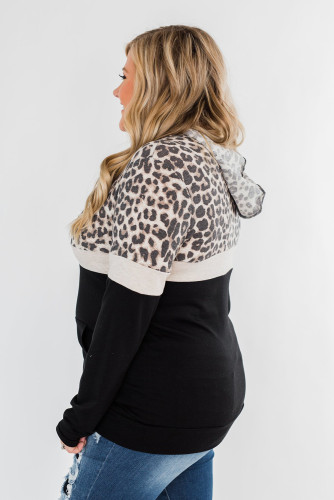Black Leopard Patchwork Drawstring Plus Size Hoodie With Pocket LC253714-2