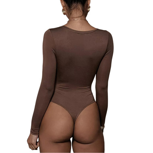 Coffee V Neckline Long Sleeve Bodysuit TQK550263-15