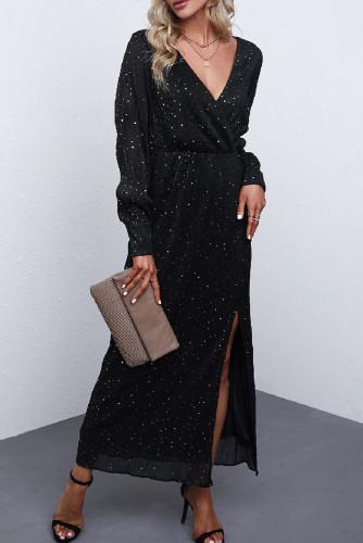 Black Side Split Rhinestone V Neck Maxi Dress LC616380-2