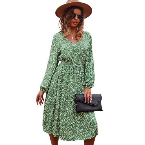 Light Green Floral Print V Neck Long Sleeve Dress TQK310675-28