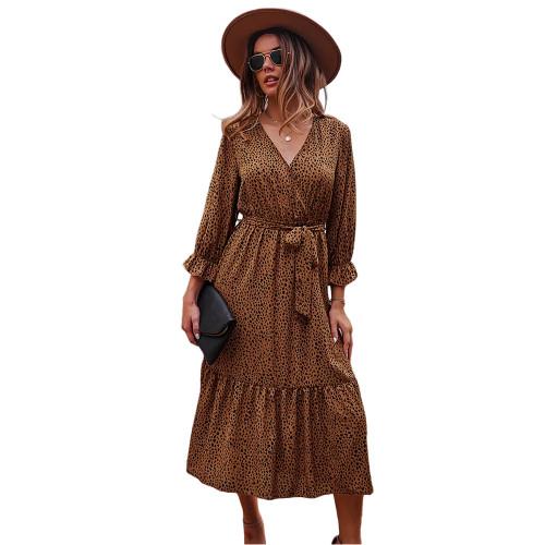 Brown V Neck Tie Waist Long Sleeve Maxi Dress TQK310677-17